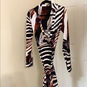 Animal print full wrap dress